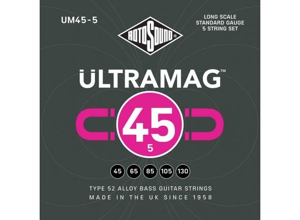 Jogo de cordas .045 para baixo elétrico de 5 cordas Rotosound UM455 Ultramag