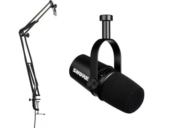 Microfone de membrana grande Shure MV 7 Black Bundle