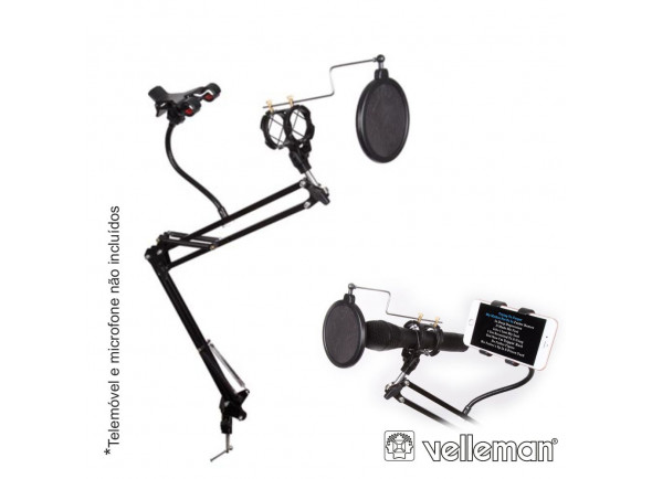 Suporte para microfone Velleman  Suporte Mesa para Microfone com Filtro Acústico