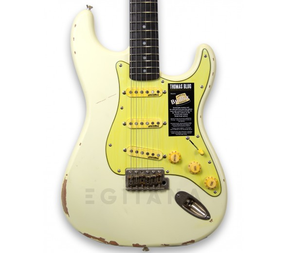 Guitarras formato ST Vintage V6 Thomas Blug Signature Electric Guitar Distressed Vintage White