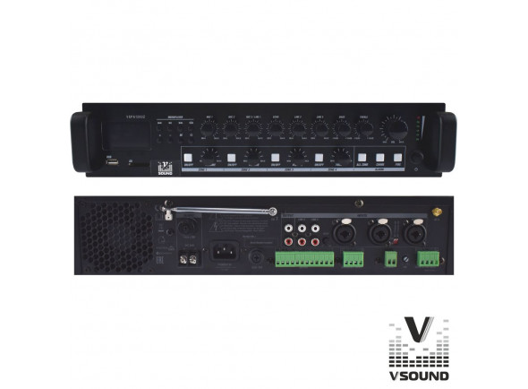 Amplificadores VSOUND  Amplificador PA 12/230V 3 Entradas 120W Mp3/USB/SD/BT