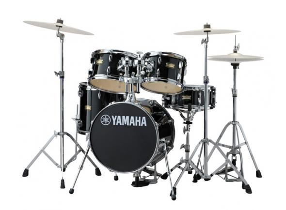 Conjuntos de bateria com ferragens sem pratos Yamaha Manu Katché Signature Junior Kit Raven Black com Hardware