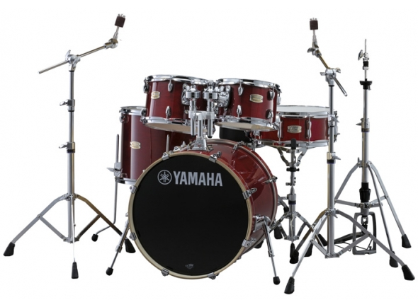 Conjuntos de bateria com ferragens sem pratos Yamaha Stage Custom Birch Cranberry Red com Hardware sem Pratos