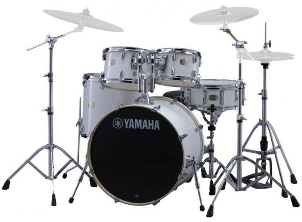 Conjuntos de bateria com ferragens sem pratos Yamaha Stage Custom Birch Pure White com Hardware sem Pratos